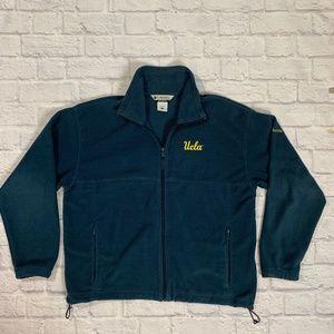Mens Columbia Blue Full Zip Fleece Jacket Coat XL